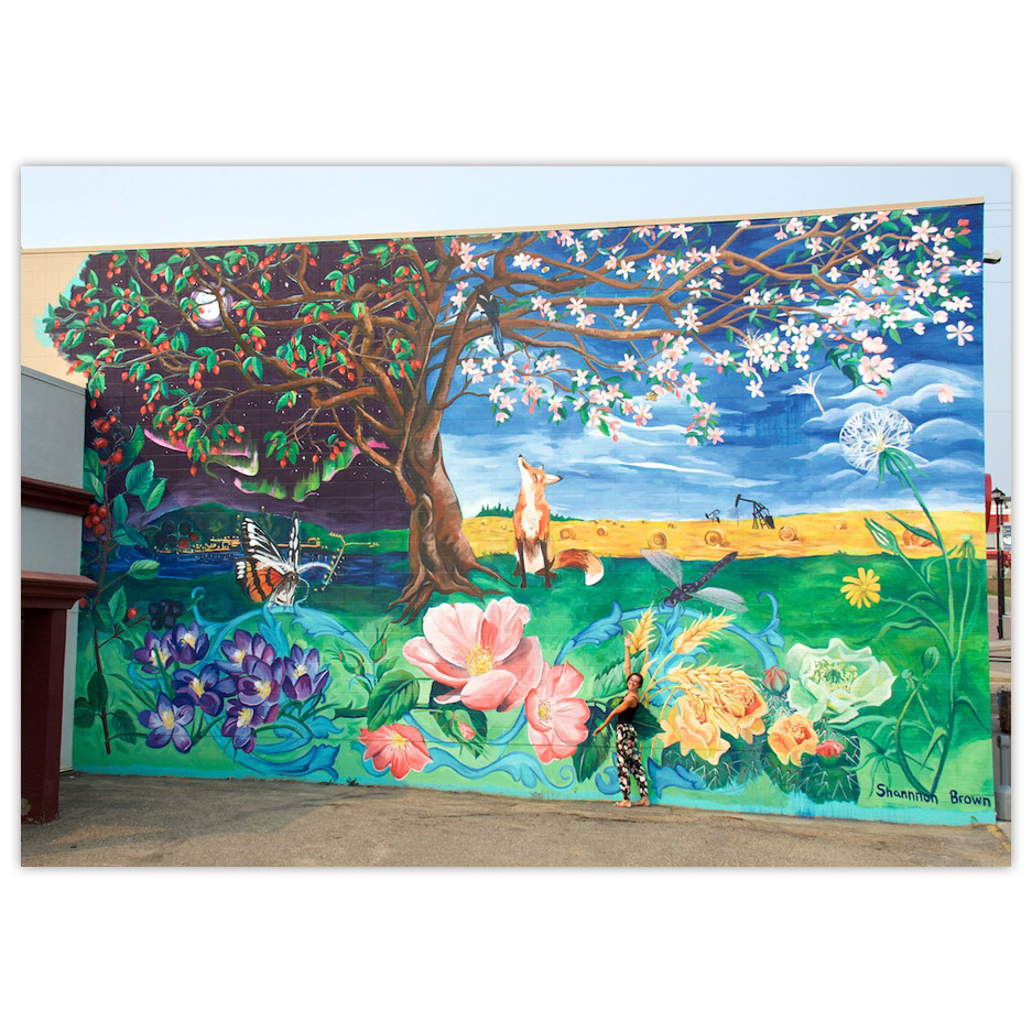 Artist Shannon Brown and her mural depicting the natural of beauty of Peace River