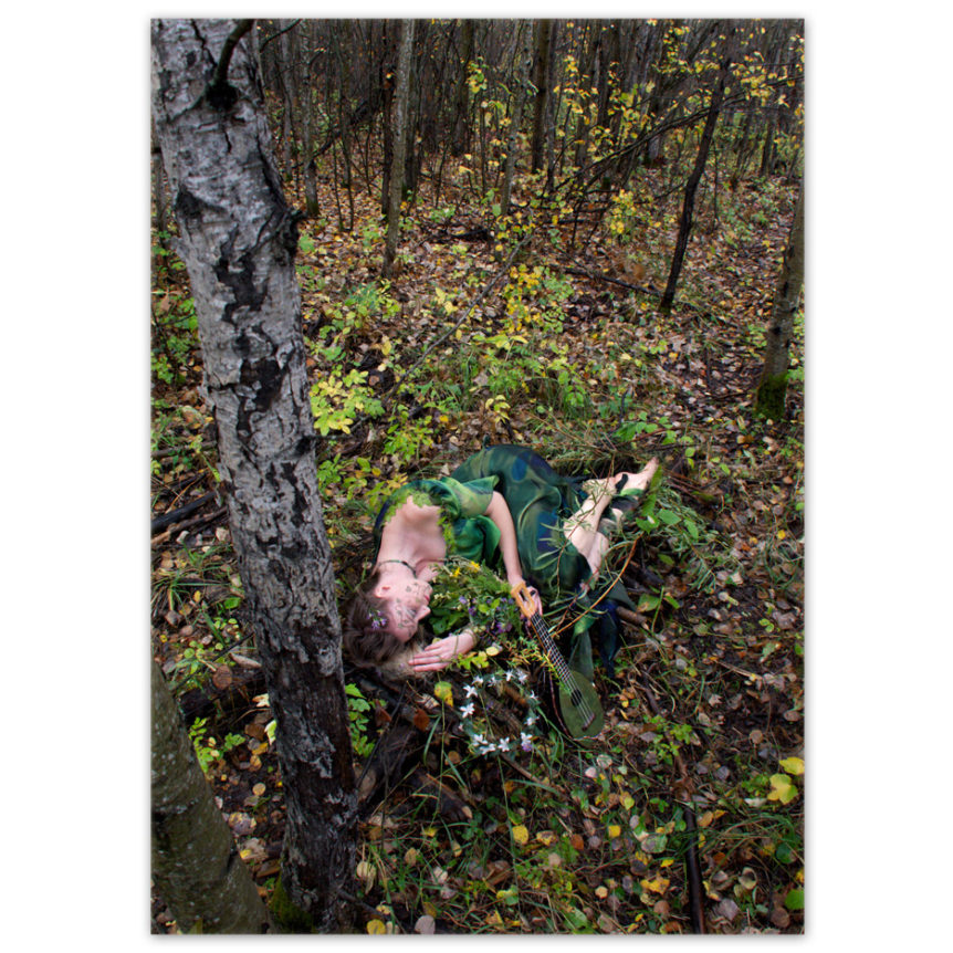 a boreal forest nymph sleeping in an aspen grove with her forest green ukulele and wreath of flowers near by