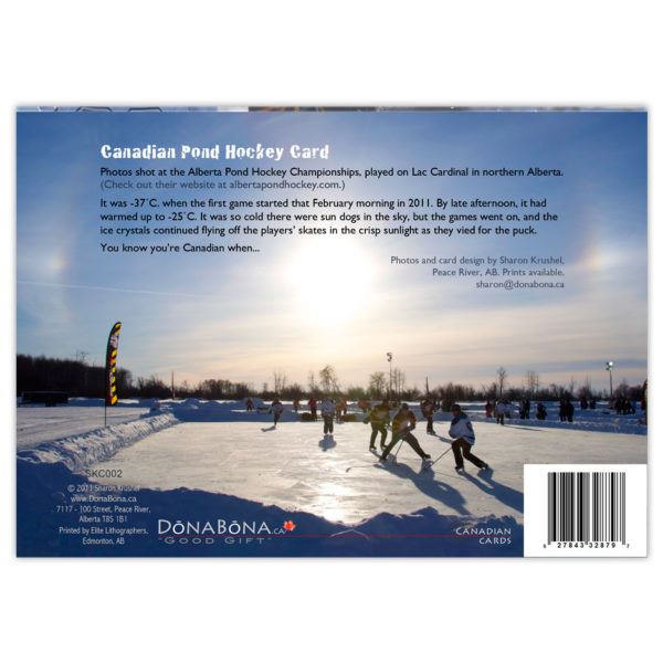 Alberta Pond Hockey Championships game with sundogs in the sky