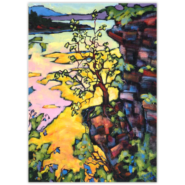 A colourful acrylic painting of a tree handing on by its roots to an outcropping of rock on the edge of a cliff over the Peace River valley in northern British Columbia