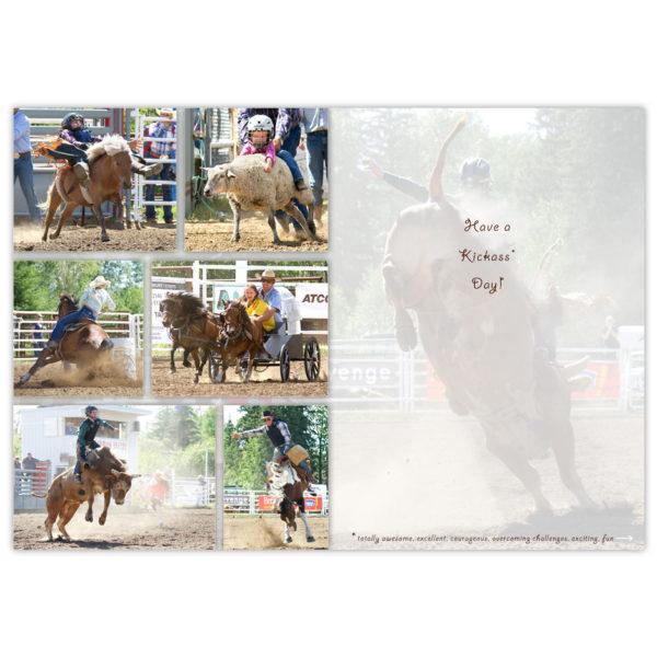 mini bronc busting, mutton busting, barrel racing, mini chuckwagon racing, and bull riding at a northern Alberta rodeo