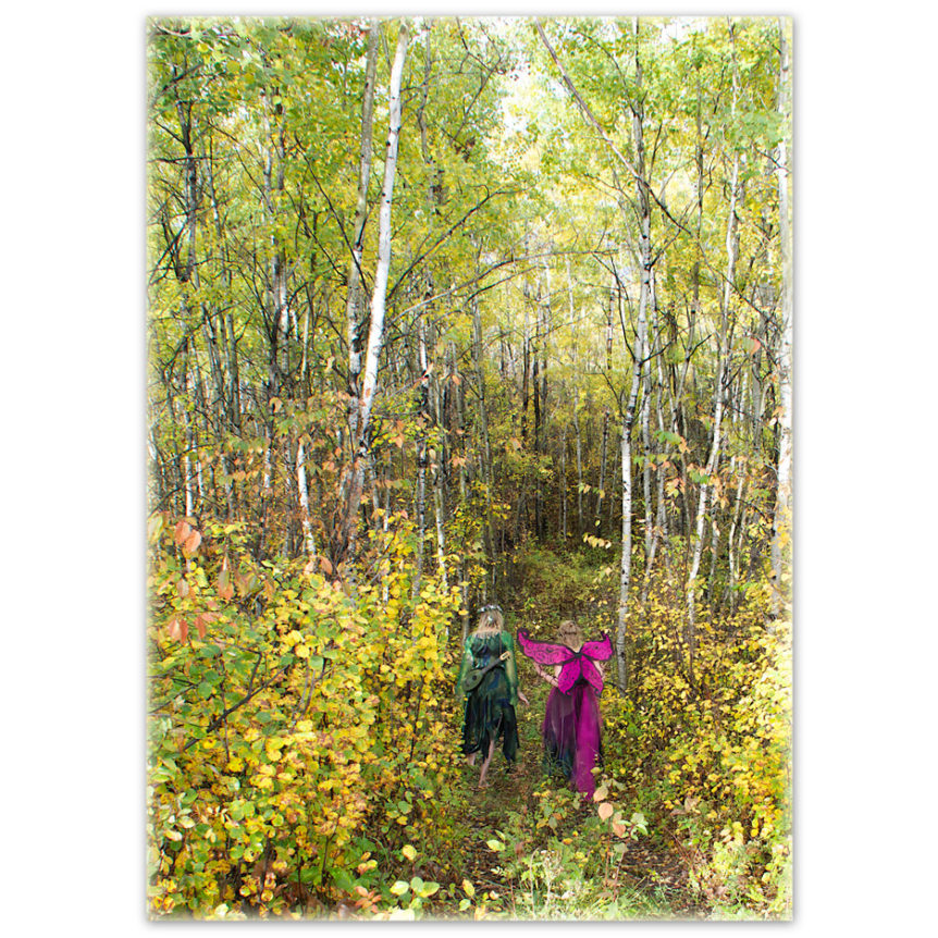 A Boreal Forest Nymph (tree spirit) and a butterfly walk and talk along a path in an aspen grove in the rich colours of autumn