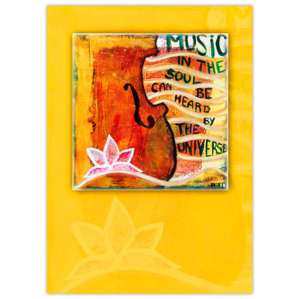 """acrylic painting of the bottom corner of a violin adorned with a lotus flower motif and the words flowing out to the side """"Music in the soul can be heard by the universe"""""""