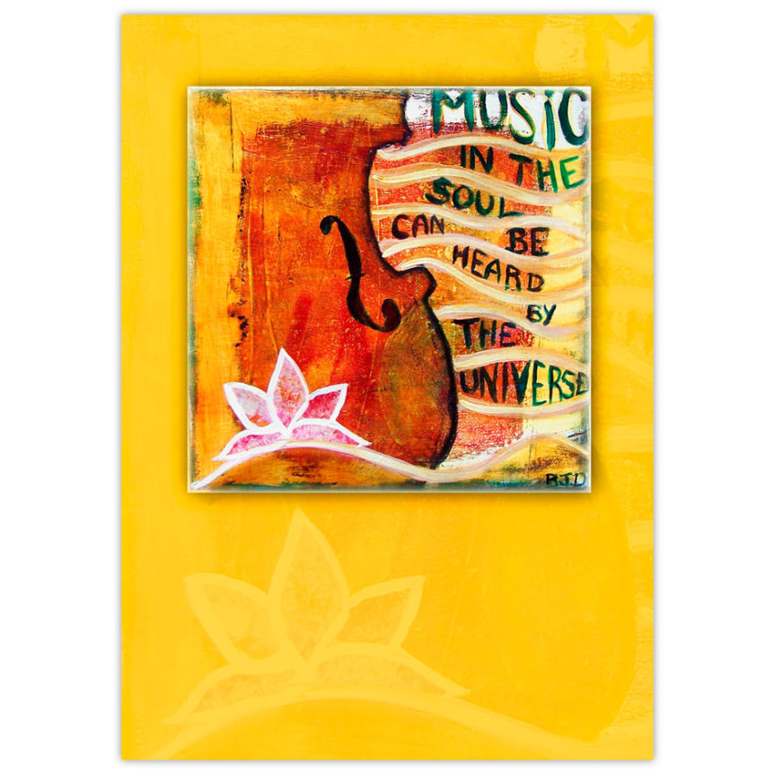 "acrylic painting of the bottom corner of a violin adorned with a lotus flower motif and the words flowing out to the side ""Music in the soul can be heard by the universe"""