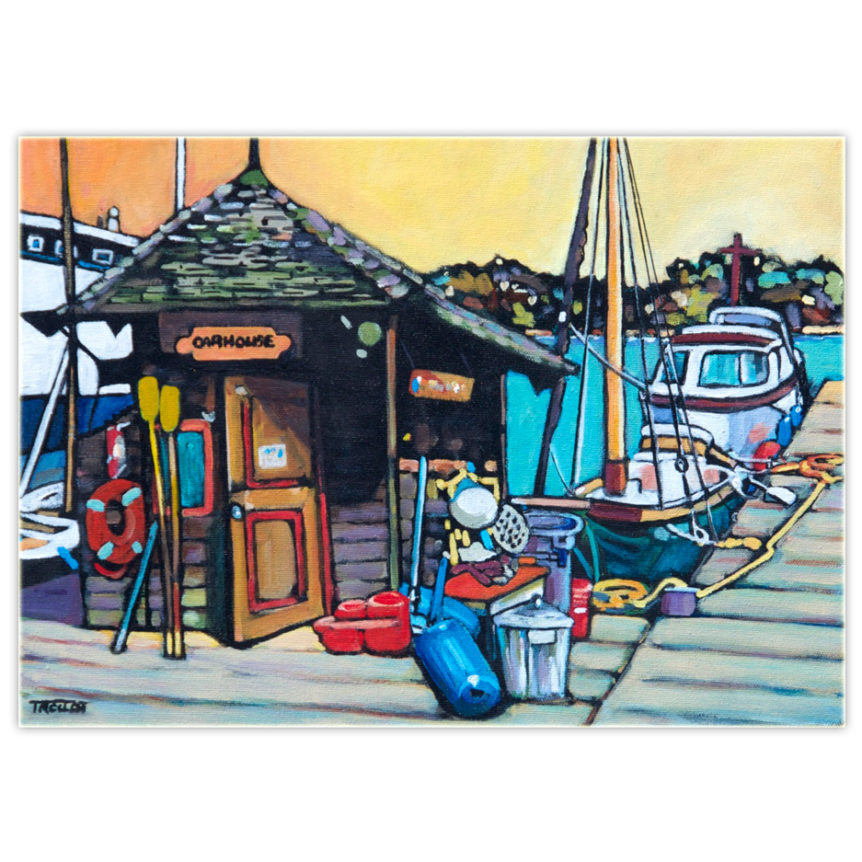 Colourful acrylic painting of an oar house and dock on the west coast