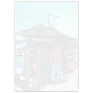Acrylic painting of a Boat Rentals hut