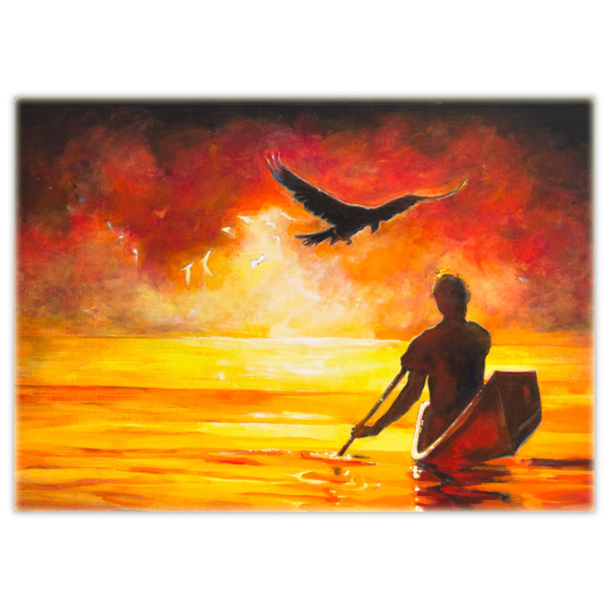 Acrylic painting of a guardian raven flying over a man in a canoe heading off into the sunset