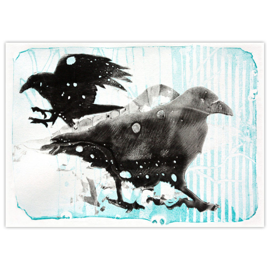 an artist's interpretation of ravens playing