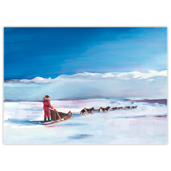 acrylic painting of a man and his sled dog team travelling across the ice and snow
