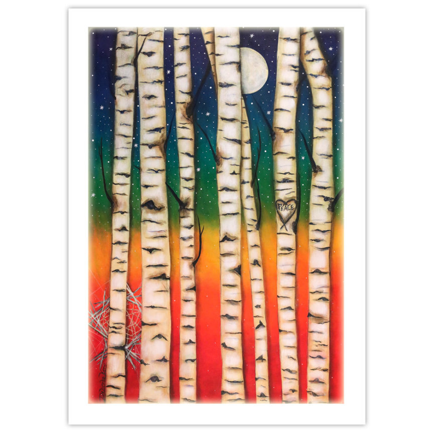 "tree trunks contrasted against a rainbow background with the moon peeking through. The word, ""Peace"" is carved into one of the tree trunks."