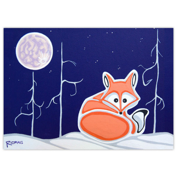 little fox curled up on the snow with the moon shining above