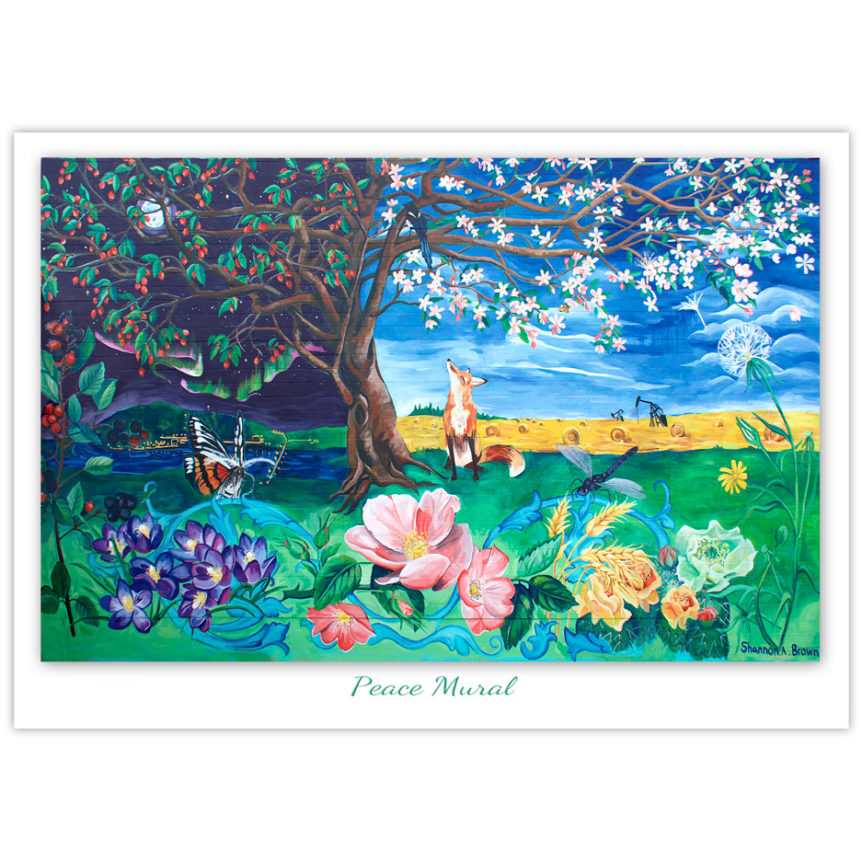 fox looks up at a magpie in a crabapple tree with Peace country scenes in the background