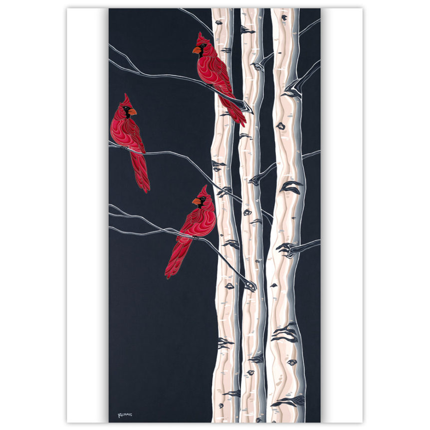three red cardinal birds in three trees