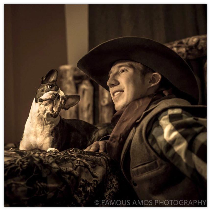 Amos Wiebe and his dog Harley