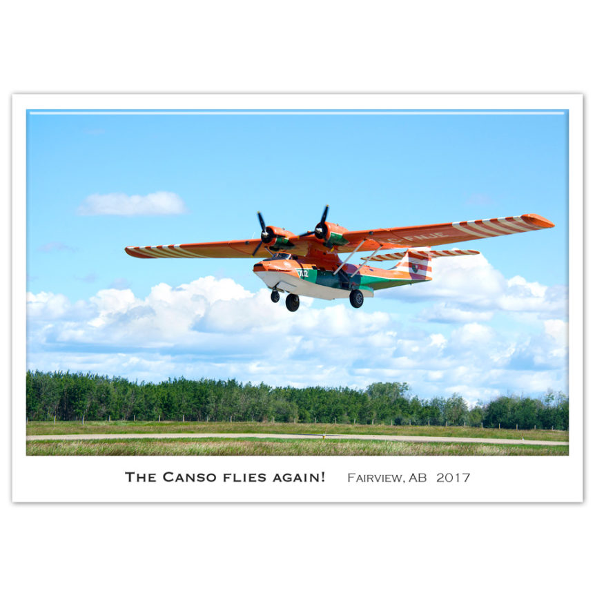 restored WWII Canso takes off in Fairview, Alberta