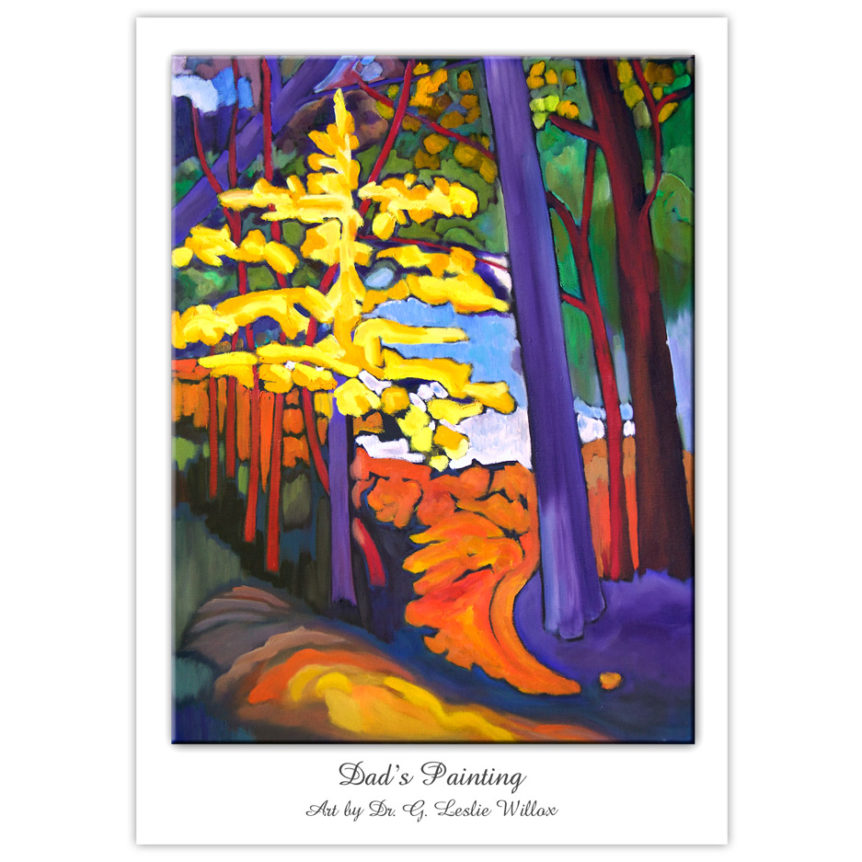 colourful painting of a path in the forest in autumn