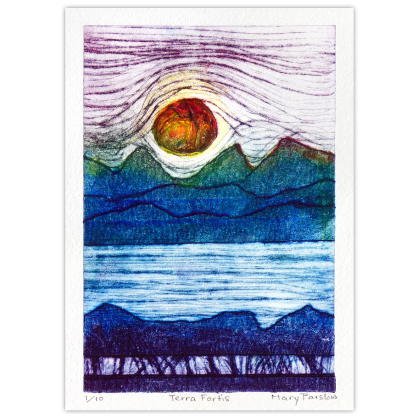 Dry point with collograph art print of the Canadian Rockies, water, trees, sunset