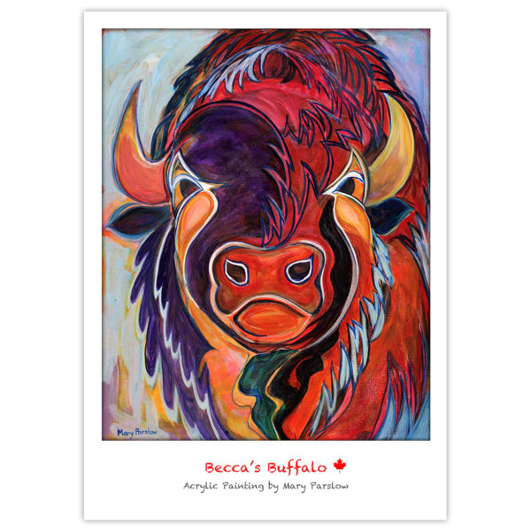 brightly painted buffalo