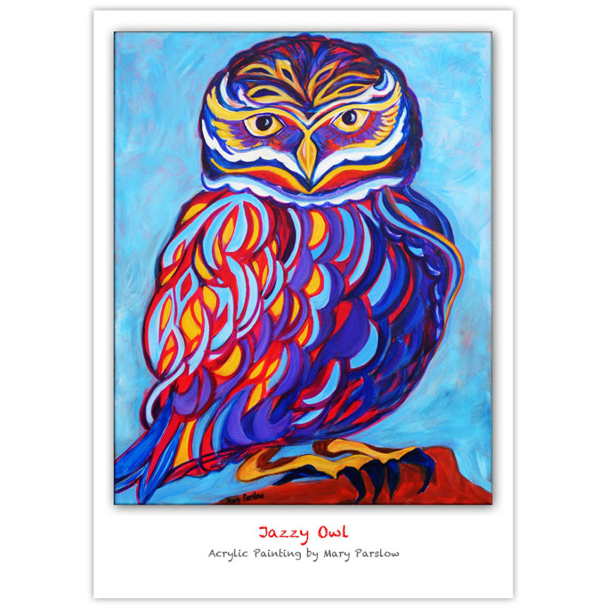 brightly coloured owl painting