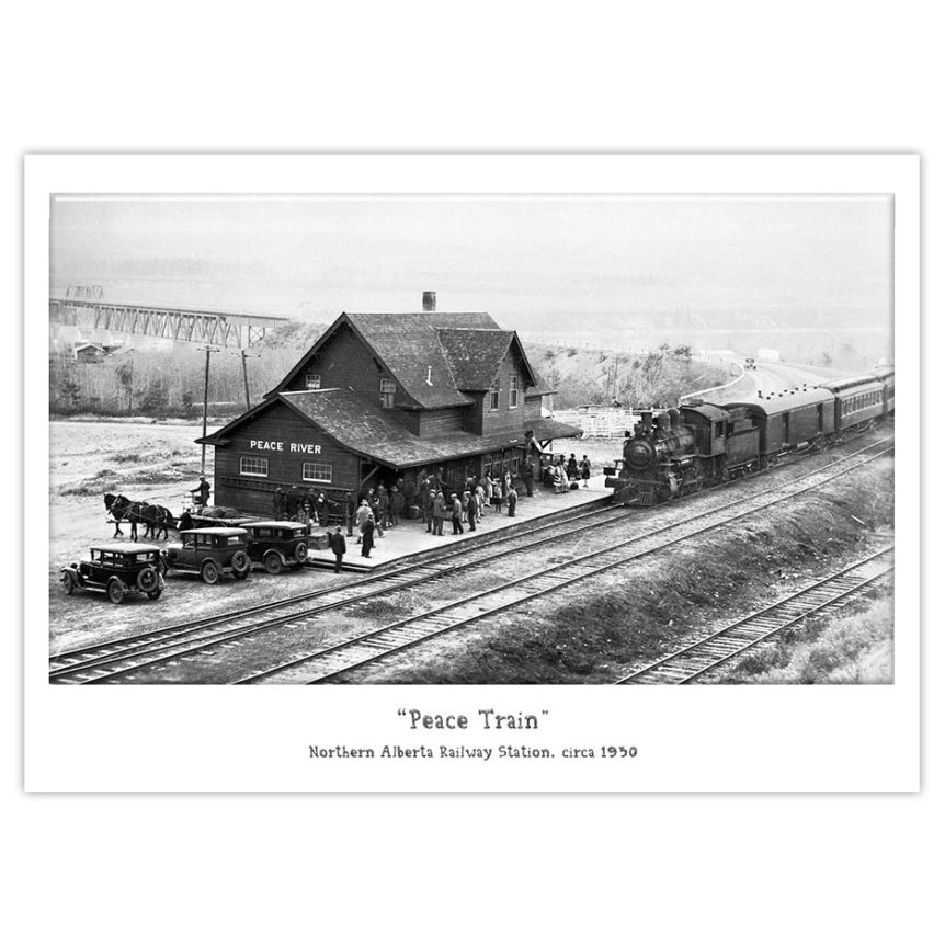 Peace River Train Station, Northern Alberta Railway, historical photo, train bridge, 1930