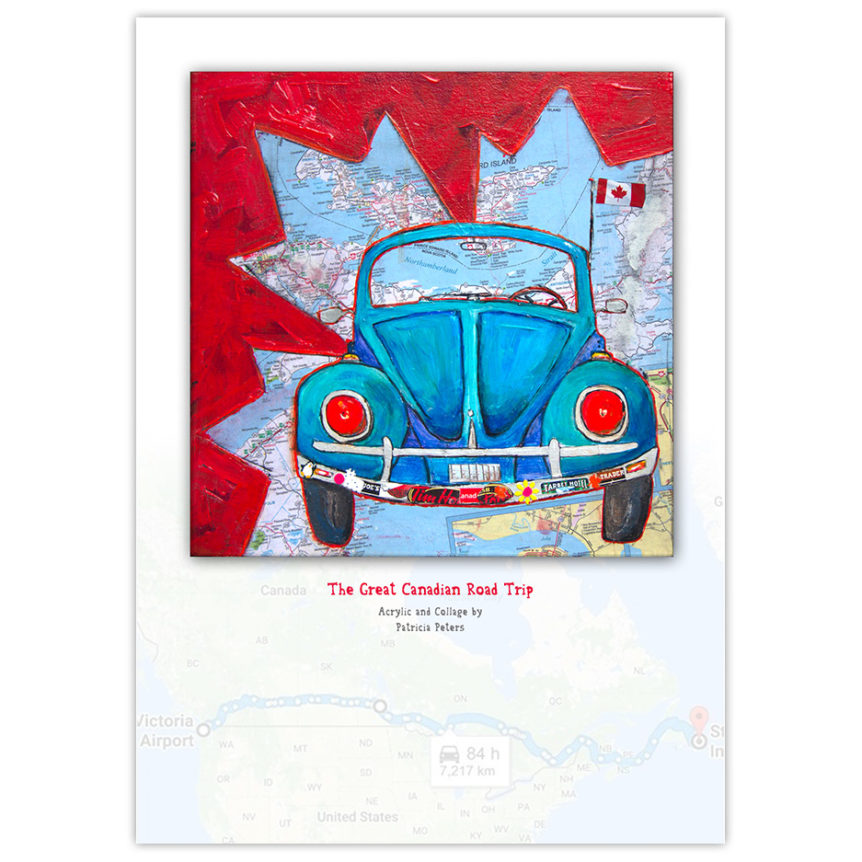 Blue Volkswagen Beetle painting with Canadian maple leaf and map in the background