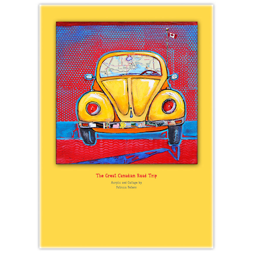 Yellow Volkswagen Beetle painting with Canadian road map in the windshield