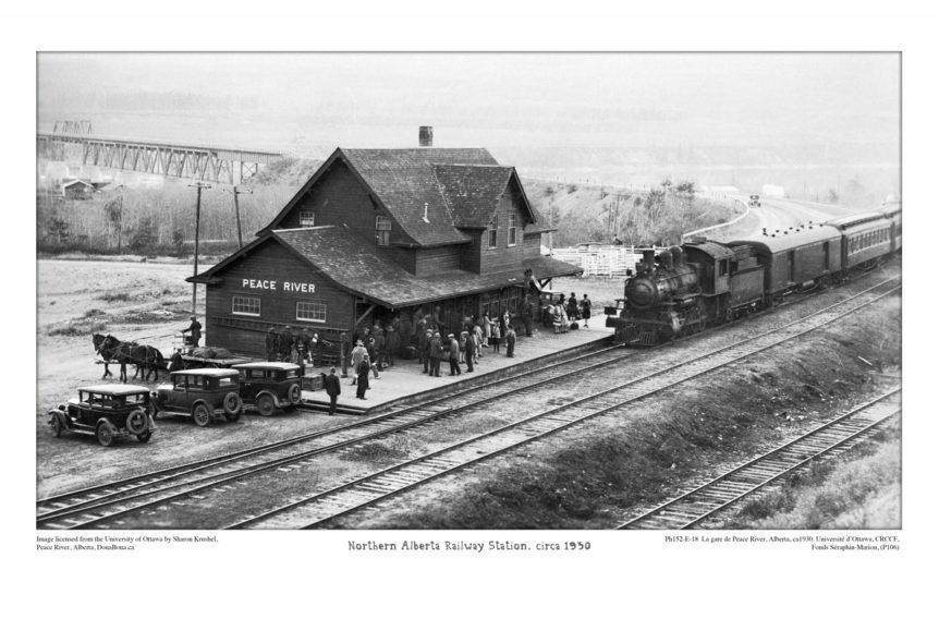 Peace River Train Station Northern Alberta Railway 1930