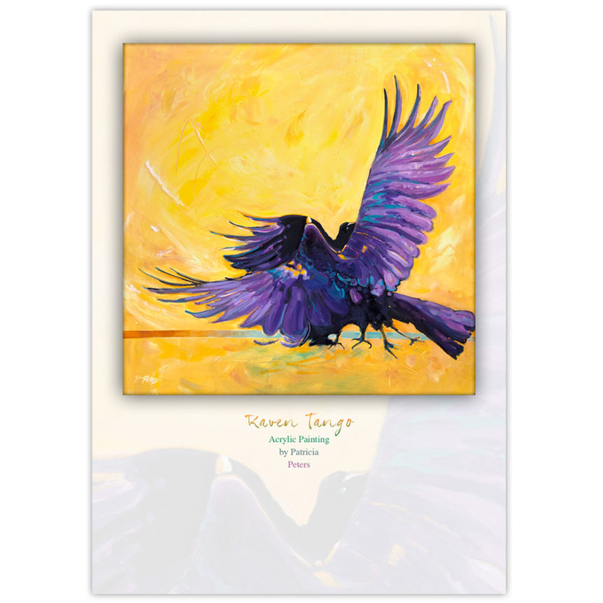 Canadian Raven painting featuring two ravens with purple accents dancing on the ground