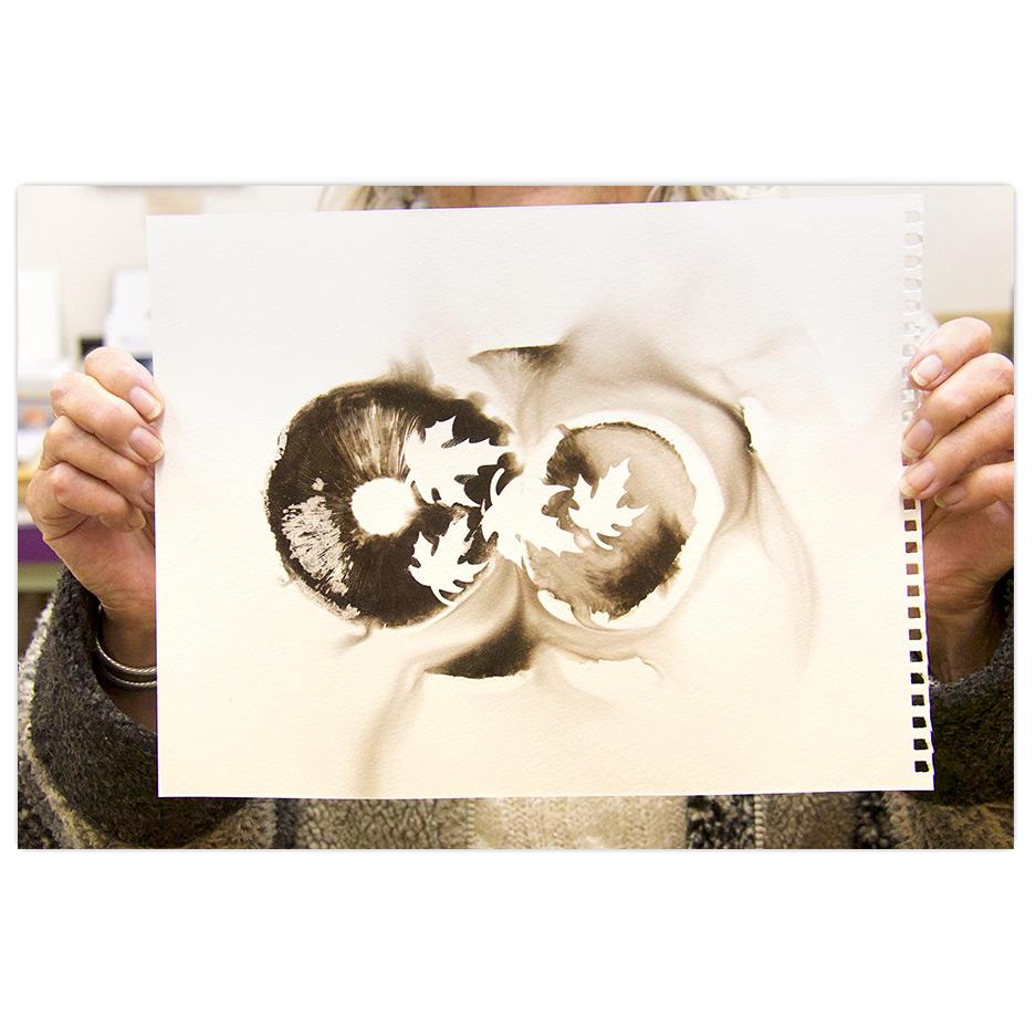 printmaking image using mushroom spores as ink