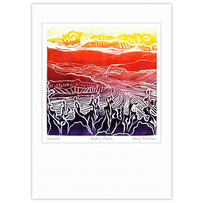 Linocut print of the Peace River with rainbow inking by Mary Parslow