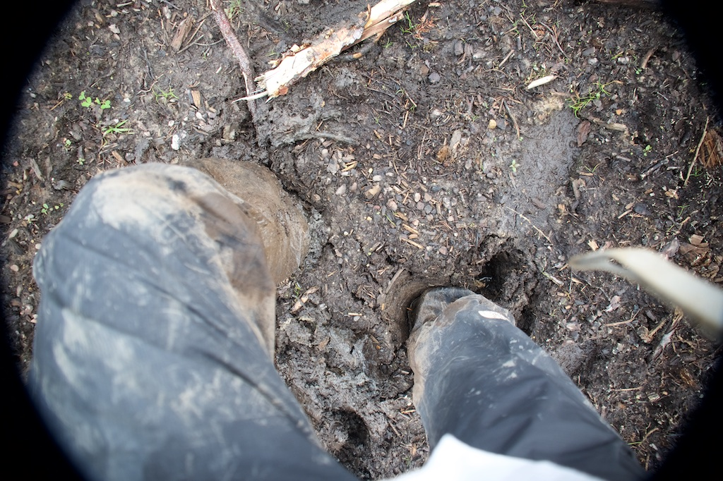 rubber boots stuck in the mud