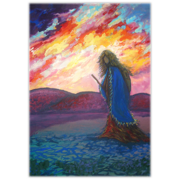 painting of a woman walking with a walking stick at sunset