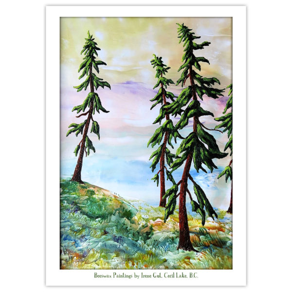encaustic art evergreen trees