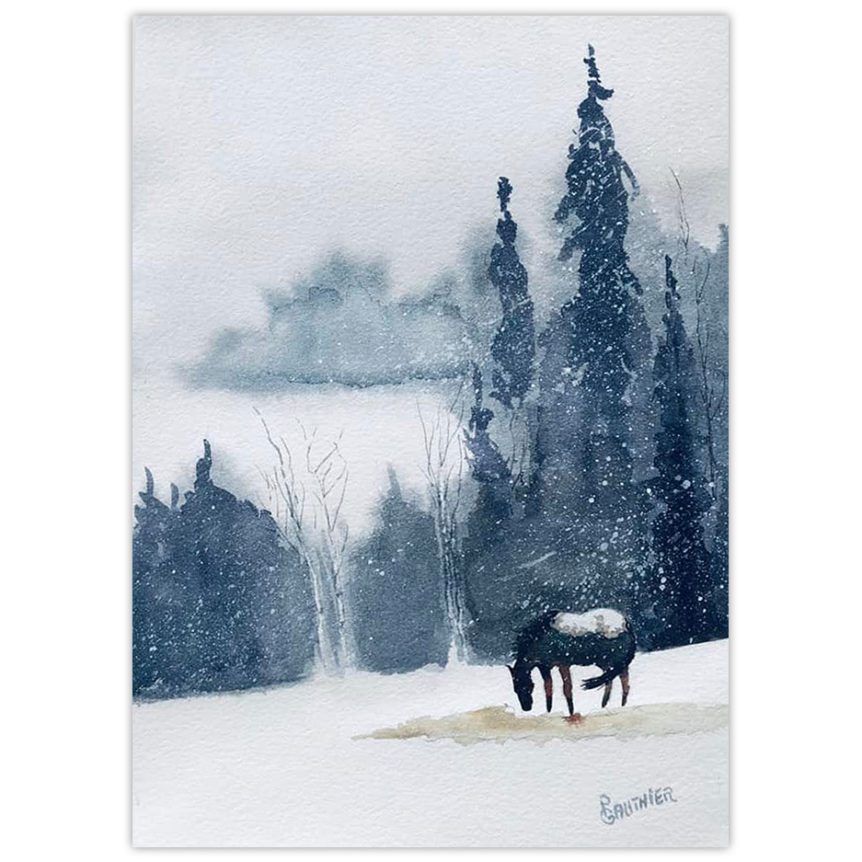 watercolour painting of a horse in a winter storm