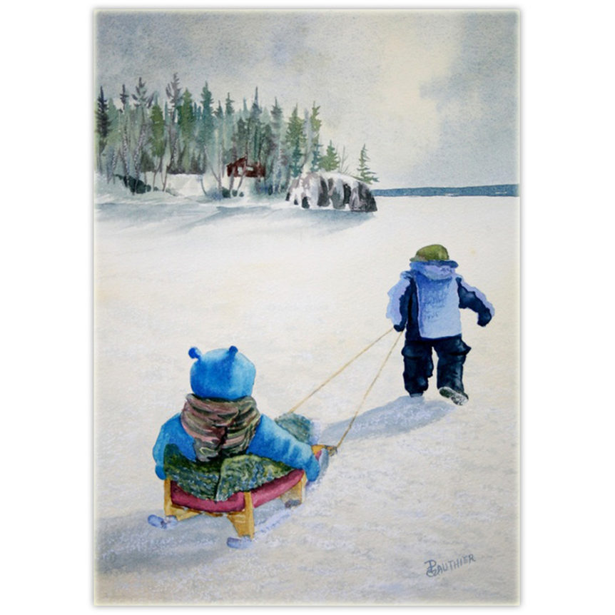 watercolour painting of a child pulling another child on a sled