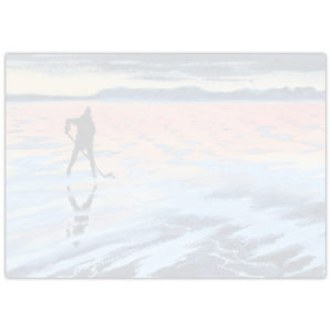 watercolour painting of a long hockey player on a frozen lake at sunset