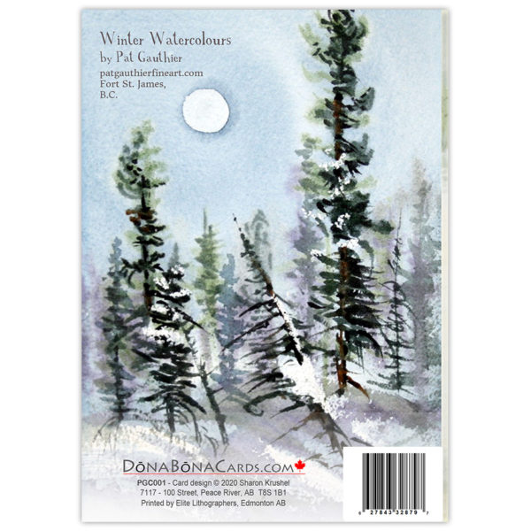 watercolour winter scene with evergreen trees casting shadows on the snow